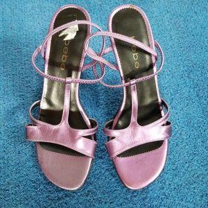 Bebe purple metallic heels